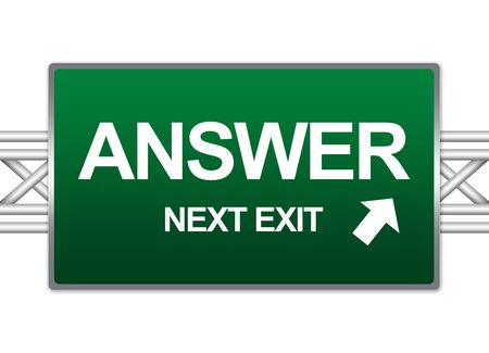 answers highway: Green Highway Street Sign For Business Solution Concept Present By Answer Next Exit Sign Isolate on White Background