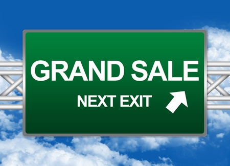 grand sale: Green Highway Street Sign For Business Concept Present By Grand Sale Next Exit Sign Against A Blue Sky Background