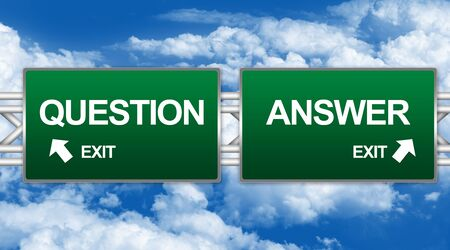 Two Choices Of Green Highway Street Sign Between Question and Answer Sign For Business Concept Against A Blue Sky Background photo