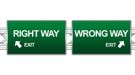 wrong way sign: Two Choices Of Green Highway Street Sign Between Right Way And Wrong Way Sign For Business Direction Concept Isolate on White Background