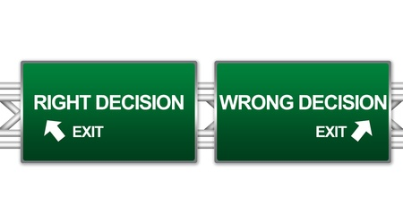 2 way: Two Choices Of Green Highway Street Sign Between Right Decision And Wrong Decision Sign For Business Direction Concept Isolate on White Background