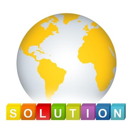 erde gelb: Colorful L�sung Cube Box mit gelben Erde f�r Business Solution Konzept auf wei�en Hintergrund Lizenzfreie Bilder