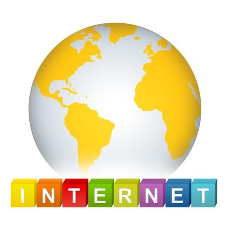 erde gelb: Colorful Internet Cube Box mit gelben Erde f�r Internet- und Netzwerk-Konzept auf wei�en Hintergrund