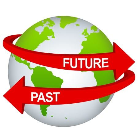 Red Future And Past Arrow Around The Green Earth For Time Management Concept Isolate on White Background Banco de Imagens
