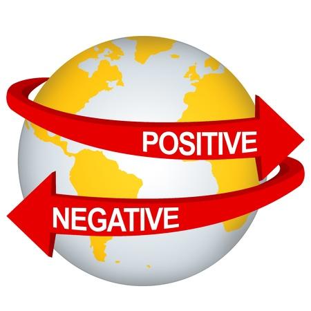 erde gelb: Red positiven und negativen Pfeil Fern Yellow Earth For Business Direction-Konzept auf wei�em Hintergrund isolieren