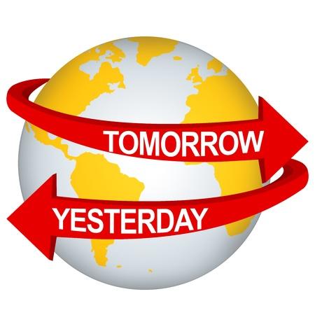 erde gelb: Red Morgen und gestern Pfeil Fern Yellow Earth F�r die-Zeit-Richtung Konzept auf wei�em Hintergrund isolieren