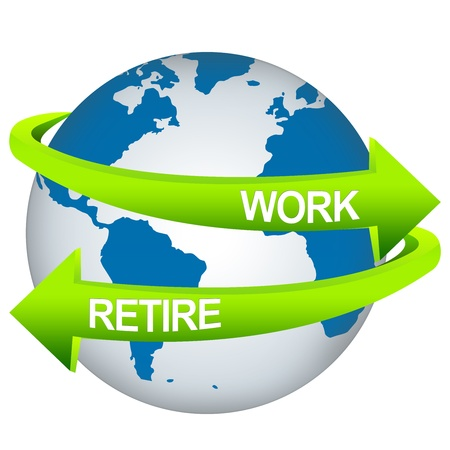 work worker workforce world: Green Work And Retire Arrow Around The Blue Earth For Business Direction Concept Isolate on White Background