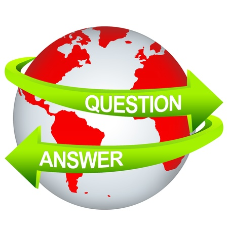interrogatory: Green Question And Answer Arrow Around The Red Earth For Business Direction Concept Isolate on White Background