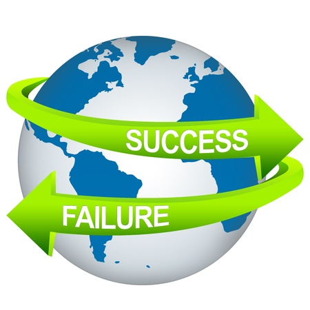 failed strategy: Green Success And Failure Arrow Around The Blue Earth For Business Direction Concept Isolate on White Background