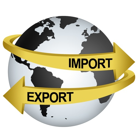 information international: Golden Import And Export Arrow Around The Gray Earth For Business Direction Concept Isolate on White Background