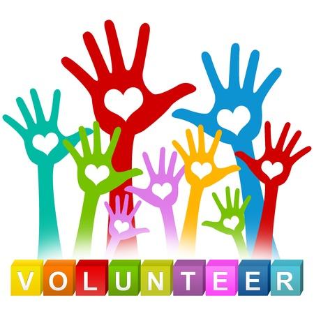 Kleurrijke Vrijwilliger Cube Box en de kleurrijke Opgeheven Handen met hart binnen Voor Vrijwilliger concept geïsoleerd op witte achtergrond