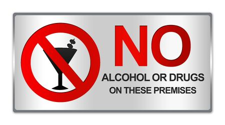 Rectangle Silver Metallic Style Plate For No Alcohol Or Drug On These Premises Sign Isolated on White Background