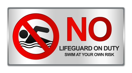 no diving sign: Rectangle Silver Metallic Style Plate For No Lifeguard On Duty Swim At Your Own Risk Sign Isolated on White Background