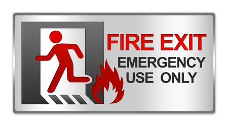 화재 출구 긴급 사용을 위해 사각형 실버 메탈릭 스타일 접시 만 흰색 배경에 고립 된 기호