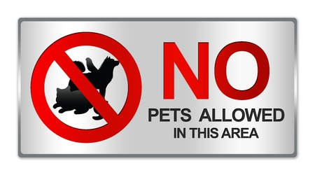 Rectangle Silver Metallic Style Plate For No Pets Allowed In This Area Prohibited Sign Isolated on White Background photo