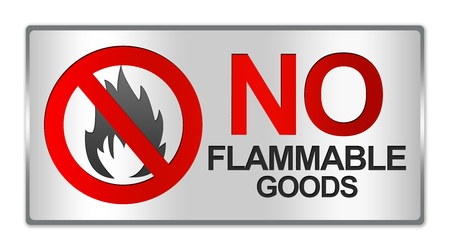 Rectangle Silver Metallic Style Plate For No Flammable Goods Sign Isolated on White Background photo