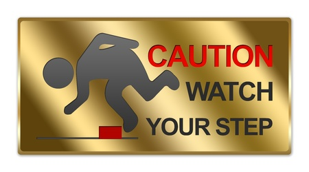 salience: Rectangle Gold Metallic Style Plate For Caution Watch Your Step Sign Isolated on White Background Stock Photo