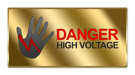 switchboard: Rectangle Gold Metallic Style Plate For Danger High Voltage Sign Isolated on White Background Stock Photo