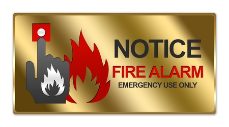 Rectangle Gold Metallic Style Plate For Notice Fire Alarm Emergency Use Only Sign Isolated on White Background photo