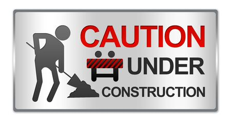under construction sign: Rectangle Silver Metallic Style Plate For Caution Under Construction Sign Isolated on White Background