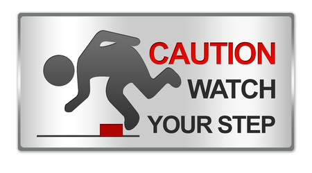 salience: Rectangle Silver Metallic Style Plate For Caution Watch Your Step Sign Isolated on White Background