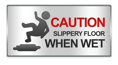 Rectangle Silver Metallic Style Plate For Caution Slippery Floor When Wet Sign Isolated on White Background photo