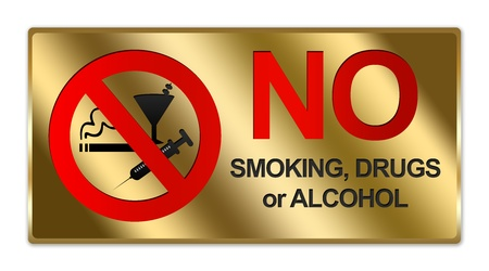 disallowed: Rectangle Gold Metallic Style Plate For No Smoking, Drug or Alcohol Sign Isolated on White Background