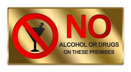 Rectangle Gold Metallic Style Plate For No Alcohol Or Drug On These Premises Sign Isolated on White Background photo