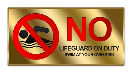 Rectangle Gold Metallic Style Plate For No Lifeguard On Duty Swim At Your Own Risk Sign Isolated on White Background