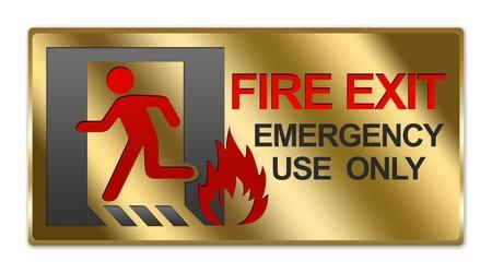 no correr: Rect�ngulo met�lico del oro Estilo Plate For Fire Emergency Exit Use Only signo aislado en el fondo blanco