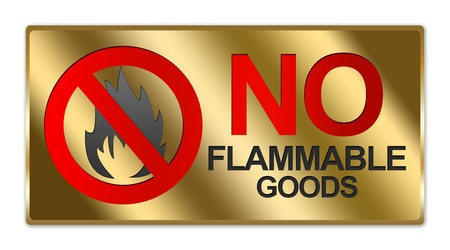 Rectangle Gold Metallic Style Plate For No Flammable Goods Sign Isolated on White Background photo