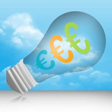 Graphic For Currency Concept, Euro Currency Symbols in The Light Bulb in Blue Sky Background photo