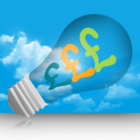 Graphic For Currency Concept, Pound Currency Symbols in The Light Bulb in Blue Sky Background photo