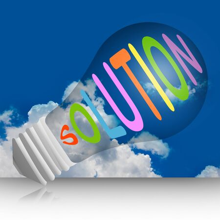 Graphic For Problem and Solution Concept, Light Bulb With Solution Text in Blue Sky Background photo