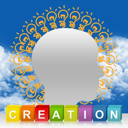 good looking: Colorful Creation Cube Box And Head With Many Light Bulb For Idea Generate Concept In Blue Sky Background