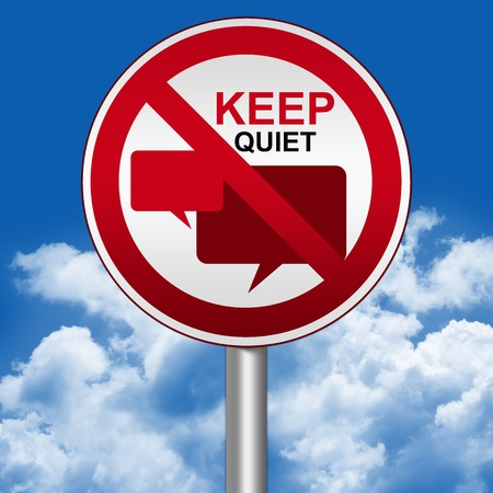 blabber: Prohibited Circle Silver Metallic and Red Metallic Border Road Sign For Keep Quiet Sign With Balloon Chat Sign Against The Blue Sky Background Stock Photo
