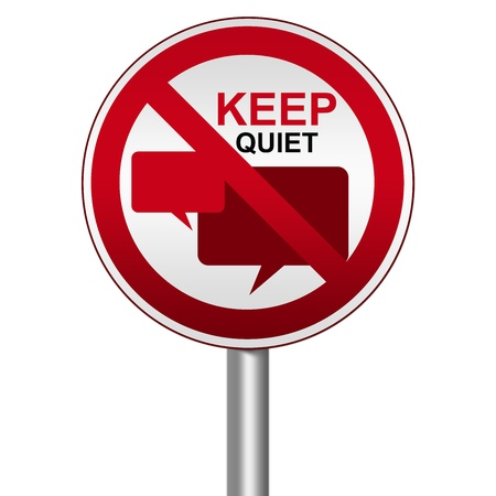 blabber: Prohibited Circle Silver Metallic and Red Metallic Border Road Sign For Keep Quiet Sign With Balloon Chat Sign Isolate on White Background