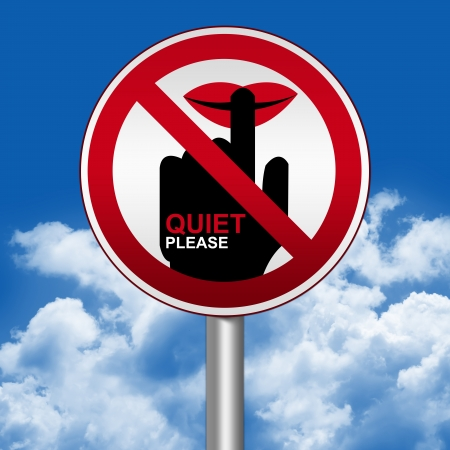 blabber: Prohibited Circle Silver Metallic and Red Metallic Border Road Sign For Quiet Please Sign Against The Blue Sky Background  Stock Photo