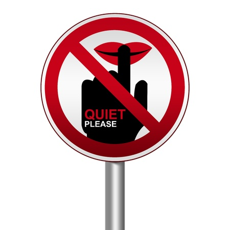 blabber: Prohibited Circle Silver Metallic and Red Metallic Border Road Sign For Quiet Please Sign Isolate on White Background  Stock Photo