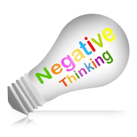 negative thinking: Colorful pens�e n�gative texte � l'int�rieur de l'ampoule Concept isol� sur fond blanc