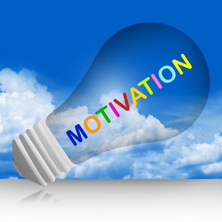 Colorful Motivation Text Inside The Light Bulb For Business Concept in Blue Sky Background  photo