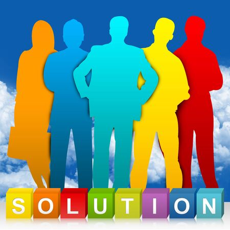 Colorful Solution Cube Box And Colorful Businessman For Business Concept In Blue Sky Background  Stock Photo - 24036873