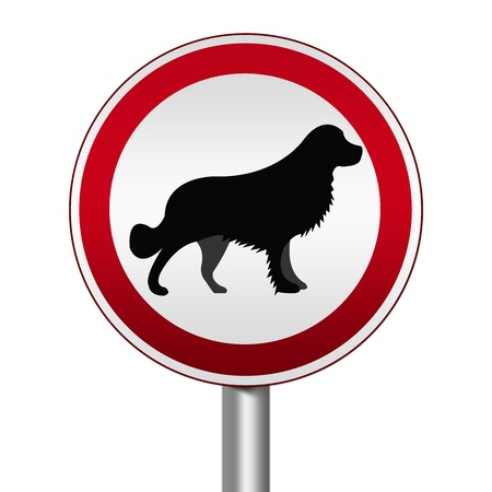 Circle Silver Metallic and Red Metallic Border Road Sign For Pet Allowed Zone Isolated on White Background  photo