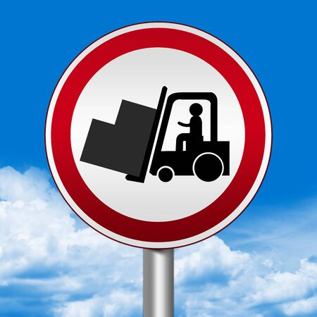 forklifts: Circle Silver Metallic and Red Metallic Border Road Sign For Working Safely Around Forklifts Against The Blue Sky Background Stock Photo