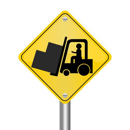 forklifts: Yellow Rhombus Road Sign For Working Safely Around Forklifts Isolated on White Background  Stock Photo