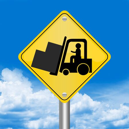 Yellow Rhombus Road Sign For Working Safely Around Forklifts Against The Blue Sky Background  photo