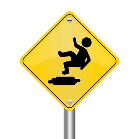 risks ahead: Amarillo Rhombus Road Sign Por resbaladizo suelo aislado en el fondo blanco Foto de archivo