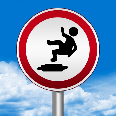 Circle Silver Metallic and Red Metallic Border Road Sign For Slippery Floor Against The Blue Sky Background  Stock Photo - 24036905