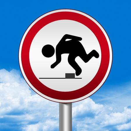 Circle Silver Metallic en Rood Metallic Border Road Sign voor Watch Your Step Tegen De Blauwe Hemel Achtergrond