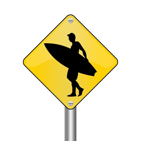 Yellow Rhombus Road Sign For Surfing Zone Isolated on White Background  photo